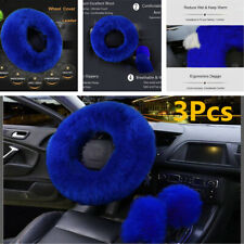 3Pcs Winter Car Steering Wheel Cover Mature Gem Blue Wool Furry Fluffy Thick Kit