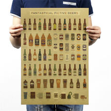 beer complete graph retro style kraft paper decorative bar decor wall sticker HF