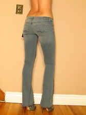 Seven 7 For All Mankind $225 Metal Stud Crystal Hem Flare Jeans Blue-Gray 23 NWT