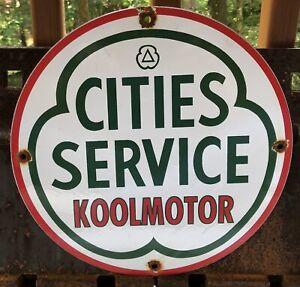 VINTAGE CITIES SERVICE KOOLMOTOR GASOLINE / MOTOR OIL PORCELAIN GAS PUMP SIGN