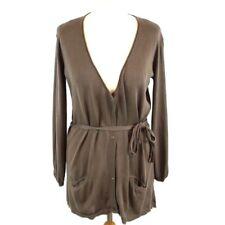 BELLA DI NOTTE Cardigan 14 Brown Silk Cotton Blend 3/4 Sleeve Tie Waist Italian