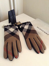 Burberry leather and wool check gloves size 7