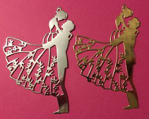 4 Bride And Groom Die Cuts 2 Silver 2 Gold Mirri Card Wedding Couple 220gsm