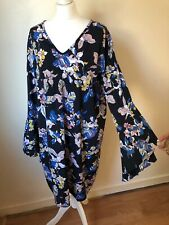 Junarose Womens Black Floral Pattern Long Sleeve V Neck Smock Dress Size 22 Vgc