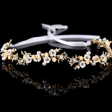 Crystal Shell Plum Flower Pearl Hair Band Headpiece Headband Wedding Jewelry