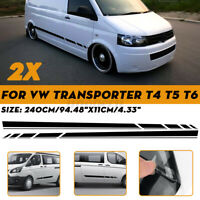 2x Side Body Stripe Sticker Decal 240x11cm For VW Transporter T4 T5 T6 Camper