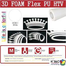 "3D FOAM PU Heat Transfer Vinyl 20""x1-5 Ft Puffy Effect Iron-On Korean Quality"