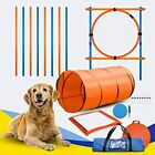Dog Agility Equipment Obstacle Course Training Set with Tunnel Weave Poles & Bag