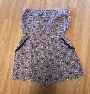 Three Pink Hearts Womens Short Strapless Blue Romper size L Large NEW