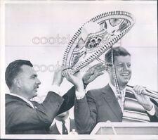 1960 Press Photo US Senator John Kennedy Receives Sombrero While Campaigning