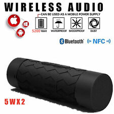 BLACK Waterproof Stereo Wireless Bluetooth 5200mAh Power Bank OUTDOOR SPEAKER 5W