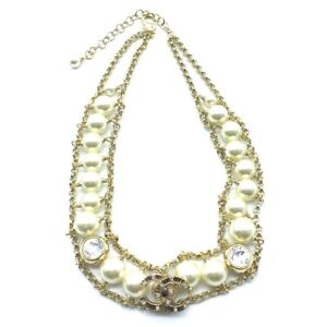 CHANEL CC B20P Chain Accessories Choker Necklace Faux pearl / crystal Gold