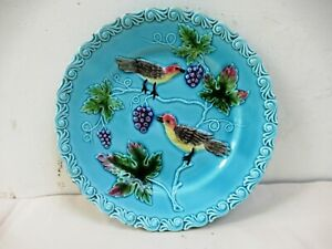 1900S Vintage German Majolica Birds & Grapes Plate Embossed Rare Collectibles *F