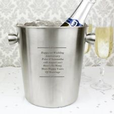 Personalised Engraved Message Metal Ice Bucket - Wedding Retirement Birthday Bar