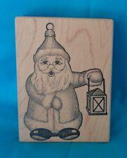 Stampa Barbara Vintage 1995 Santa w/ Lantern Wood Mounted Rubber Stamp