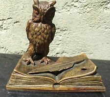 Art Nouveau Austrian bronze Owl On book Sculpture