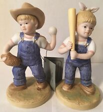 """Denim Days By Homco #1522 """"Le 00004000 t's Play Ball� (1985) 2 Pcs. Figurines"""