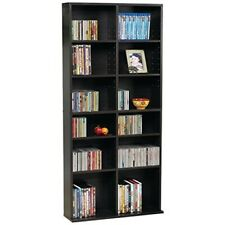 "Media Tower Rack Storage Shelf Adjustable Wood Dvd Cd Display Bookcase 54"" Brown"