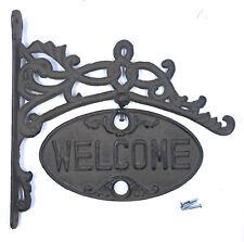 Hanging Welcome Go Away Sign Rustic Cast Iron Front Door Plaque Outdoor Decor