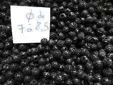 lot de 250 perles très anciennes bois buis guilloché noir diam de 7 à 8.5mm
