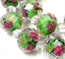 14 Czech Glass Faceted Rondelle Beads - Sap Green Rose Flower 12x8mm
