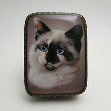 Russian Lacquer Box Fedoskino A Cat Portrait
