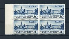 BADEN Nr.46I ** VIERERBLOCK 30Pfg. KONSTANZ 1949 ME 104,-++ !!! (133741)