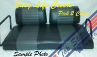 QUILT Vinyl CLUB CAR DS Golf Cart Custom Front&Rear Seat Covers Combo Staple On