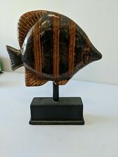 Table Home Decor Glass Fish - Flounder Bronze Brown Orange Glossy Tuscany Tuscan