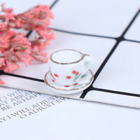 2Pcs 1:12 Dollhouse Miniature Tea Cup Tea Saucer Doll Kitchen Tableware  DD