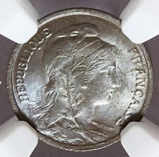 1904 France 1 One Centime Bronze Coin - NGC MS 65 BN - KM# 840 - HIGHEST GRADE