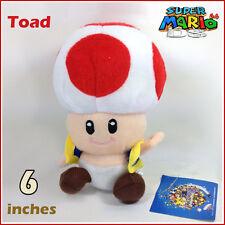 "Red Toad Super Mario Bros Plush Soft Toy Stuffed Animal Figure Mushroom Man 6"""