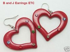 MultiColor Crystals on Red Heart-Shaped Dangle Earrings