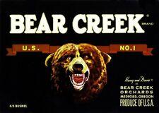 Medford Oregon Bear Creek Pear Fruit Crate Label Art Print