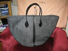 NEW! ALAIA BLACK DENIM & LEATHER EXTRA LG TOTE BAG SUMMER COLLECTION $1,695