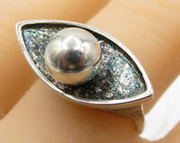 925 Sterling Silver - Vintage Pebbled Eye Band Ring Sz 8 - R1837