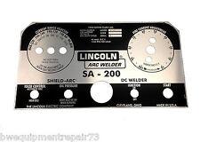 Lincoln Sa 200 Black Face Welder Nameplate L5171 Bw334