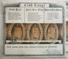 1960s AUSTRALIAN WINE & SPIRIT LABEL, PENFOLDS CLUB RANGE,  PORT SHERRY & FINO