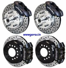 "WILWOOD DISC BRAKE KIT,1965-1968 IMPALA,11"" DRILLED ROTORS,BLACK CALIPERS,Chevy'"
