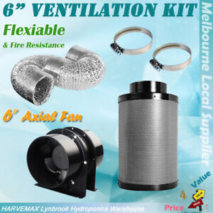 "Hydroponics 4""/5""/6"" Silent Grow Fan Ducting Carbon Filter House Ventilation Kit"