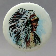 1930's or 1940's INDIAN CHIEF IN WAR BONNET full color celluloid pinback button