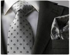SILVER GREY PAISLEY TIE & HANKY - ITALIAN DESIGNER Milano Exclusive