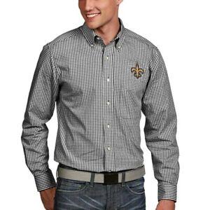 NWT Men's Antigua NEW ORLEANS SAINTS Long Sleeve Button-Down Shirt LARGE