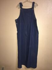 Womens XL Westbound Denim Jean Dress Long Jumper Blue Modest Bib Overalls Pocket