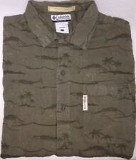 Columbia River Lodge Mens Large L Green Shirt Button Front Fish Palm Trees