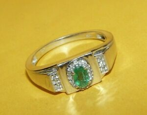 """~MEN'S~""""STS""""~CHUCK~CLEMENCY~STERLING~SILVER~""""925""""~EMERALD~DIAMOND'S~RING~SIZE~13"""
