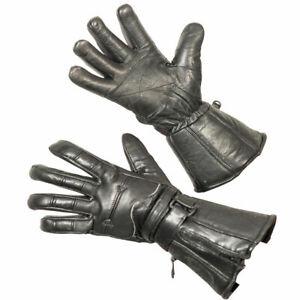 Vulcan Leather Zip-Off Motorcycle Gauntlet Gloves