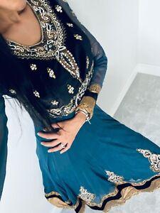 Golu Blue & Black Velvet A Line Frick | churidaar & Scarf | Size 10 - 12 Rrp£250