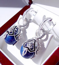 SALE ! GORGEOUS EARRINGS made of STERLING SILVER 925 w/ GENUINE LAPIS and ENAMEL