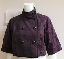 DIANE VON FURSTENBERG PURPLE AND BLACK EVENING JACKET WITH HIGH COLLAR